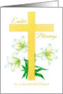 Pastor Easter Blessings Cross White Lily Flower Drawing card