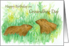 Happy Birthday on Groundhog Day Watercolor Art card