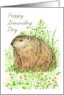 Happy Groundhog Day Woodchuck Animal Art card