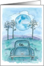 Happy First Wedding Anniversary Blue Moon Watercolor Art card