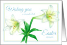 Happy Easter White Lily Flower Watercolor Art card