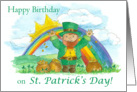 Happy Birthday on St. Patrick's Day Leprechaun Rainbow card