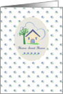 New Home Announcement Cottage House Blue Flowers card