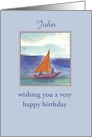 Happy Birthday Custom Card Sailing Watercolor Painting card