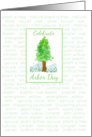 Celebrate Arbor Day Green Trees Watercolor Art card
