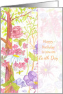 Happy Birthday on Earth Day Tree Flowers Insects Watercolor card