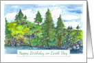 Happy Birthday on Earth Day Trees Landscape Watercolor card