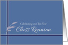 Ten Year Class Reunion Invitation Blue Stripes Leaves card