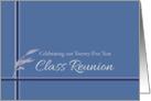 Twenty-Five Year Class Reunion Invitation Blue Stripes Leaves card