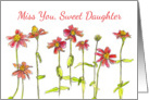 Miss You Sweet Daughter Red Zinnia Flowers Watercolor Art card