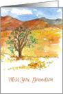 Miss You Grandson Mountain Landscape Watercolor Painting card