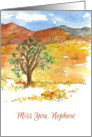 Miss You Nephew Landscape Watercolor Painting card