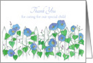 Thank You Caregiver For Child Morning Glory Flower Art card