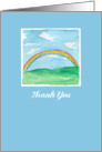 Thank You Rainbow Grass Hills Watercolor Painting card