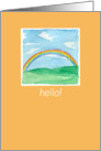 Hello Rainbow Landscape Watercolor Painting card