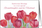 Anniversary Blessings Grandddaughter and Husband Red Tulips card