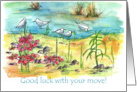 Good Luck With Your Move Seagulls Watercolor Landscape card