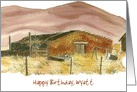 Happy Birthday Custom Name Desert Mountains Watercolor Art card
