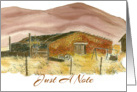 Just A Note Blank Card Desert Mountains Landscape Watercolor Art card