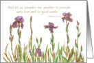 Scripture Friendship Purple Iris Flowers Watercolor Art card