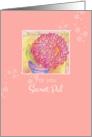 Secret Pal Friendship Red Zinnia Flower Art Illustration card