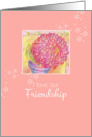 I Love Our Friendship Red Zinnia Flower Art Illustration card