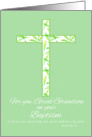 Baptism Congratulations Great Grandson White Leaf Cross card