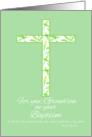 Baptism Congratulations Grandson White Leaf Cross card