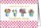 Friendship Custom Name Flower Bouquet Watercolor Art card