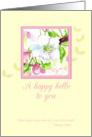 Hello Scripture Cherry Blossom Flower Watercolor Art card
