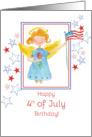 Happy 4th of July Birthday Patriotic Angel Watercolor Art card