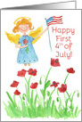 Happy First 4th of July Patriotic Angel Red Poppy Flowers card