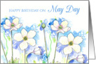 Happy Birthday On May Day White Windflowers card