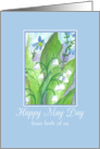 Happy May Day From Both of Us Lily of the Valley Watercolor card