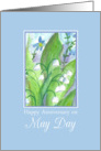 Happy Anniversary on May Day Lily of the Valley Watercolor card