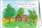 Happy Birthday on Fourth of July Flag Painting Watercolor card