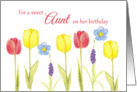 Aunt Happy Birthday Red Yellow Tulips Flowers Drawing card