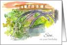 Happy Birthday Son Bridge Water Outdoor Landscape Art card
