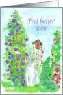 Feel Better Soon Garden Cat Watercolor Flower Painting card