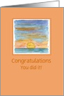 Custom Congratulations Sunset Landscape Watercolor Painting card