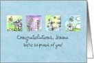 Custom Congratulations Honey Bees Watercolor Plant Illustrations card