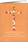 Give Thanks For All Things Ephesians Scripture Fall Leaves Cross card