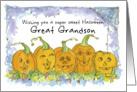 Happy Halloween Great Grandson Pumpkins Funny Faces Spiders card