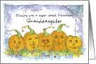 Happy Halloween Granddaughter Pumpkins Funny Faces Spiders card