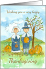 Happy Thanksgiving Pilgrims Pumpkins Country Landscape Watercolor card