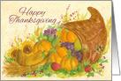 Happy Thanksgiving Cornucopia Vegetables Watercolor Art card