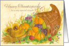 Happy Thanksgiving To A Special Couple Cornucopia Watercolor Art card