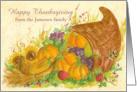 Happy Thanksgiving Custom Name Cornucopia Watercolor Art card