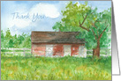 Thank You Blank Card Red Barn Pasture Landscape Fine Art Watercolor card