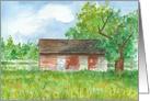Red Barn Blank Notecard Pasture Landscape Fine Art Watercolor card